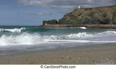 Breaking waves in Portreath, Cornwall UK.