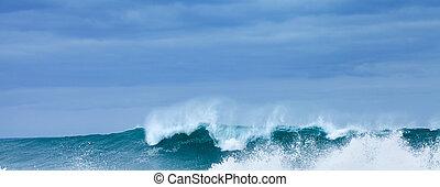 Breaking waves - powerful ocean waves breaking, natural...