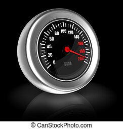 Breakneck speed - 3d image of speed gauge over black...