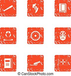 Breakthrough icons set, grunge style - Breakthrough icons...