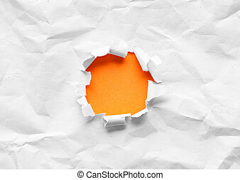 Breakthrough orange paper hole