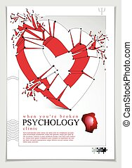 Breakup concept of Broken heart, 3D realistic vector illustration of heart symbol exploding to pieces, flyer or brochure for psychology clinic, consultation and therapy. Creative idea breaking love.