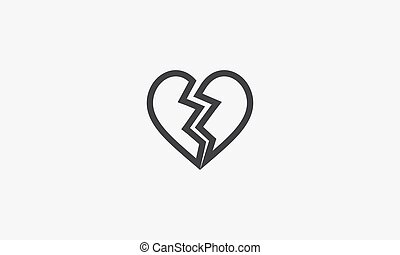 breakup line icon. isolated on white background.