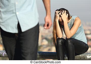 breakup, para, smutny, kiepski, sympatia, facet