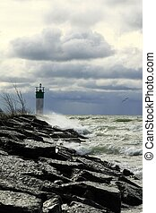 Breakwater and lighthouse