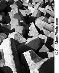 Concrete blocks used in construction of breakwater; Malta