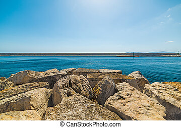 breakwater in Alghero harbor
