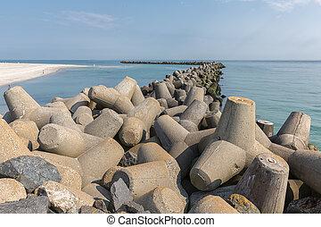 Breakwater of tetrapots at Helgoland island in German North sea