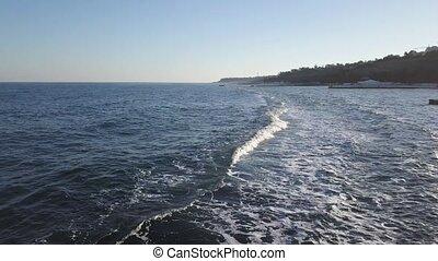 breakwater., truteń, video, antena, coastline, panoramiczny...