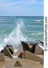 Breakwaters on the sea coast