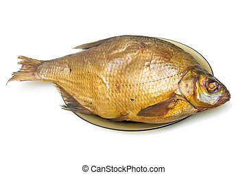 Bream fish smoked on a plate on a white background. ...