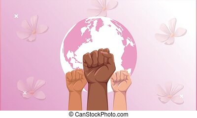 breast cancer animation with interracial hands up and earth planet ,4k video animated