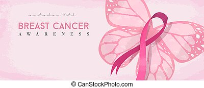 Breast cancer awareness banner with pink butterfly - Breast...