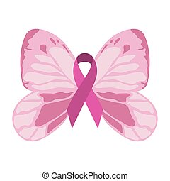 breast cancer awareness butterfly pink ribbon decoration design