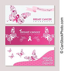 Breast cancer awareness butterfly ribbon banners