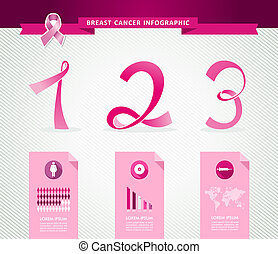 Breast cancer awareness concept Infographics template design. EPS10 vector file organized in layers for easy editing.