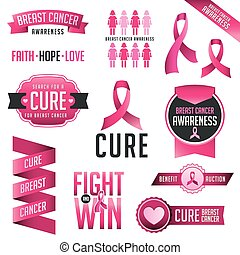 Breast Cancer Awareness Design Elements - Set of Breast...