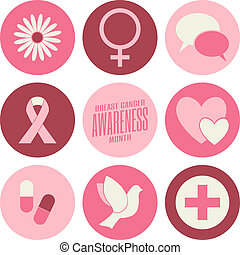 Breast Cancer Awareness Icons Colle