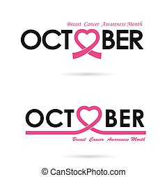 Breast cancer awareness logo design.Breast cancer awareness month icon.