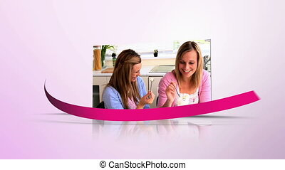 Breast cancer awareness montage with copy space with pink swirling ribbon
