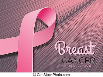 Breast Cancer Awareness Month Background with realistic pink ribbon. Vector illustration
