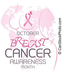 Breast cancer awareness month design of pink ribbon and body shape with world on white background
