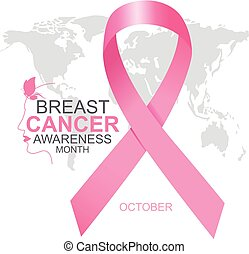Breast cancer awareness month design of pink ribbon and woman face with world map