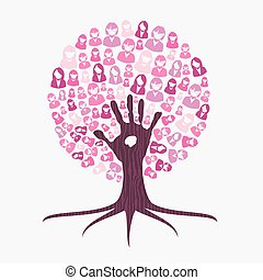 Breast cancer awareness month pink hand tree