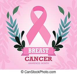 breast cancer awareness month ribbon pink floral design vector