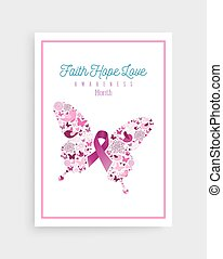 Breast cancer awareness pink ribbon icon butterfly
