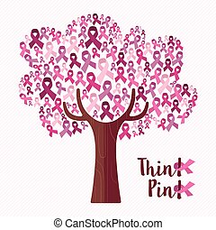 Breast cancer awareness pink ribbon tree
