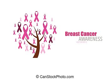 Breast cancer awareness pink ribbon. Vector Illustration.