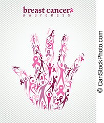 Breast cancer awareness pink ribbon women hand