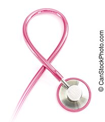 Pink stethoscope as breast cancer awareness symbol.