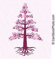 Breast cancer awareness pink tree