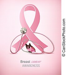 Breast cancer awareness ribbon on a pink background.
