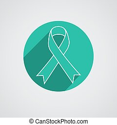 Breast cancer awareness ribbon on white background.