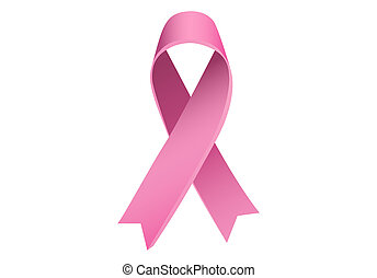 Breast cancer awareness ribbons on white background