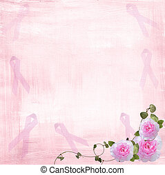 Breast cancer awareness ribbons - Pink ribbons and roses on...