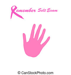 breast cancer awareness self exam pink ribbon and gray hand