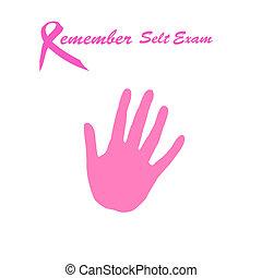 self exam - breast cancer awareness self exam pink ribbon...