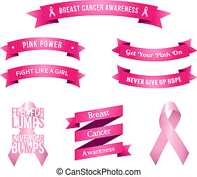 Breast Cancer Awareness Slogans - Abstract vector image of...