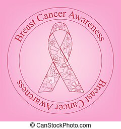 Breast cancer awareness stamp with painted ribbon