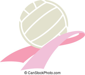 Breast Cancer Awareness Volleyball - Vector illustration of...