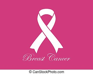 Breast Cancer Awareness. White ribbon on pink background. Vector illustration