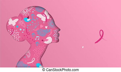 Breast Cancer Awareness month paper cut woman face silhouette 4k animation, pink ribbon for health support. 2d concept presentation footage fade to white modern campaign template.