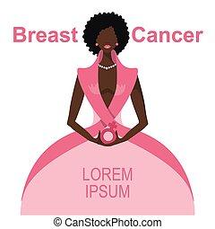 Breast Cancer Awareness.Mulatto Woman portrait - Breast...
