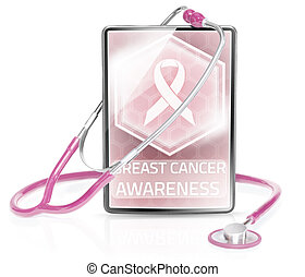 Breast cancer awarreness - Modern medical tablet displaying...