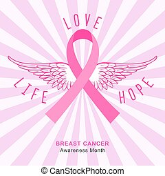 Breast cancer background with pink ribbon. Beast cancer awareness month banner. Vector.