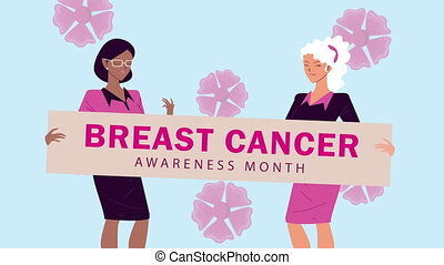 breast cancer campaign animation with girls lifting banner ,4k video animated